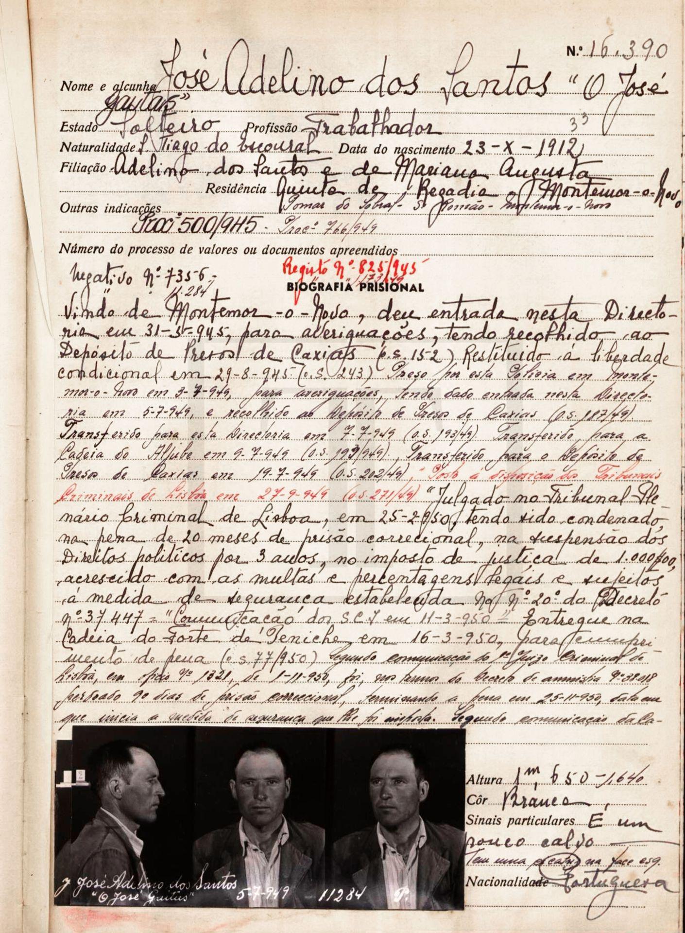 Processo da PIDE de José dos Santos (Torre do Tombo, 1945)