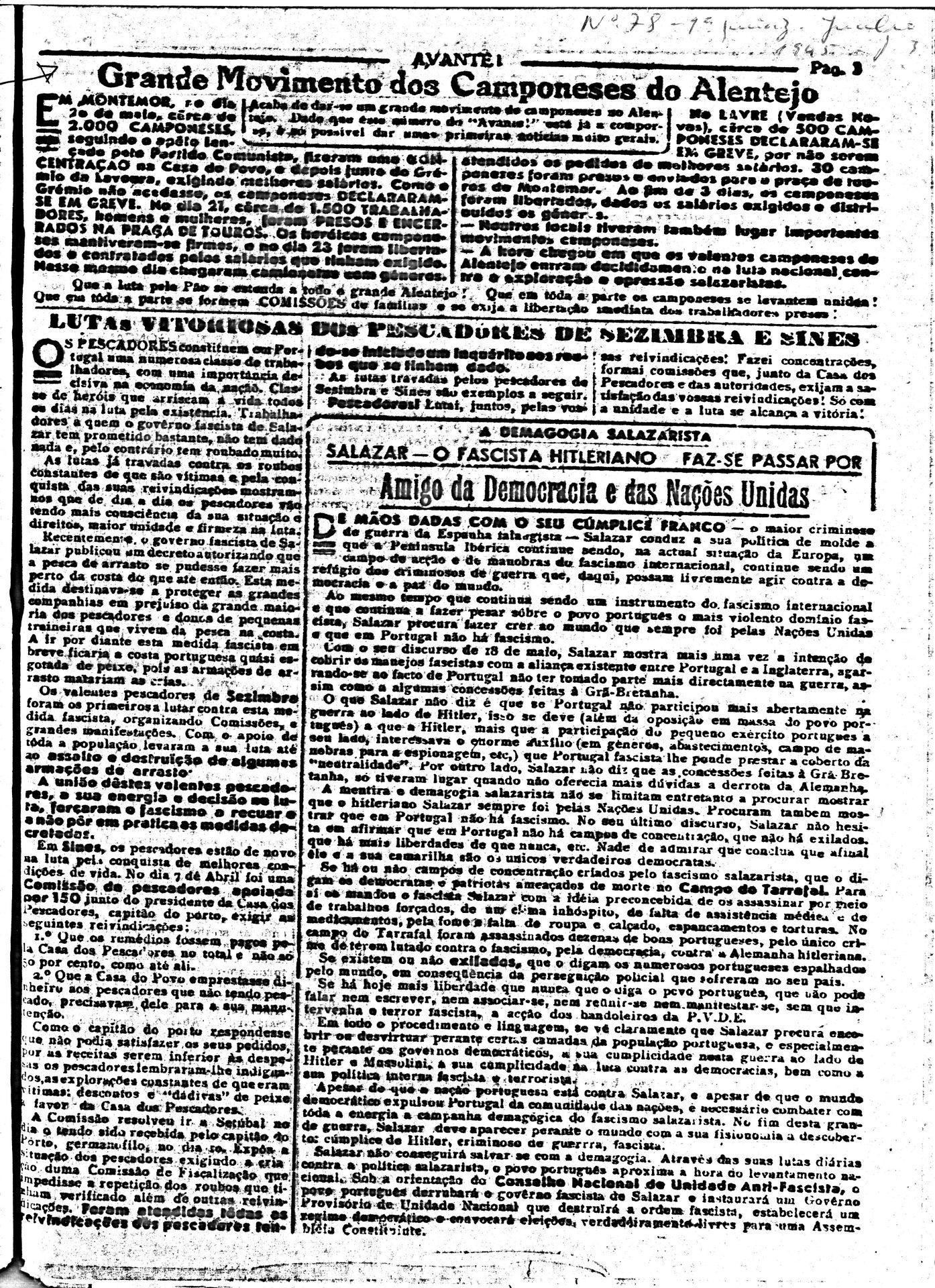 Jornal clandestino Avante com notícias de Montemor-o-Novo, 1945