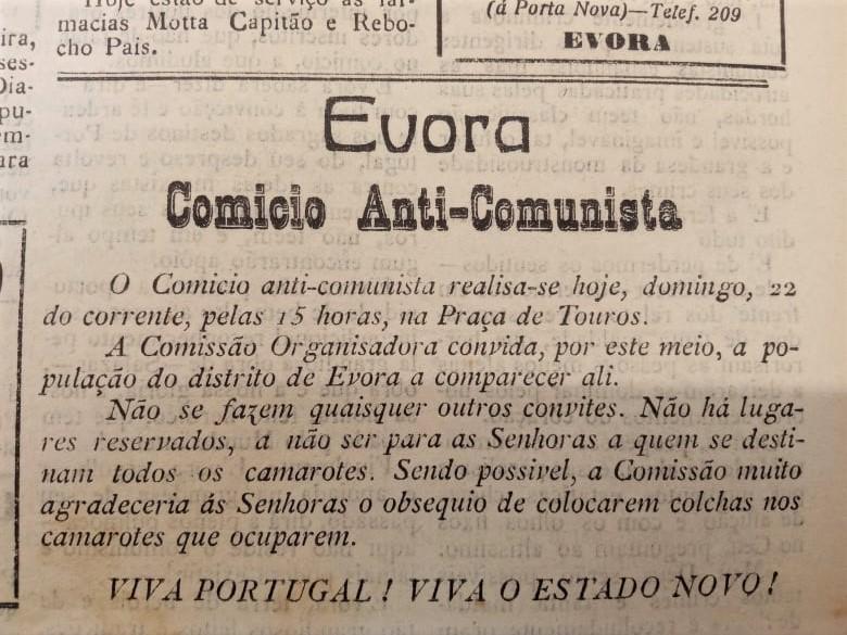 Jornal Noticias d'Évora, novembro de 1936.